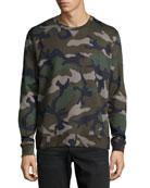 Camo-Print Crewneck Sweatshirt, Green
