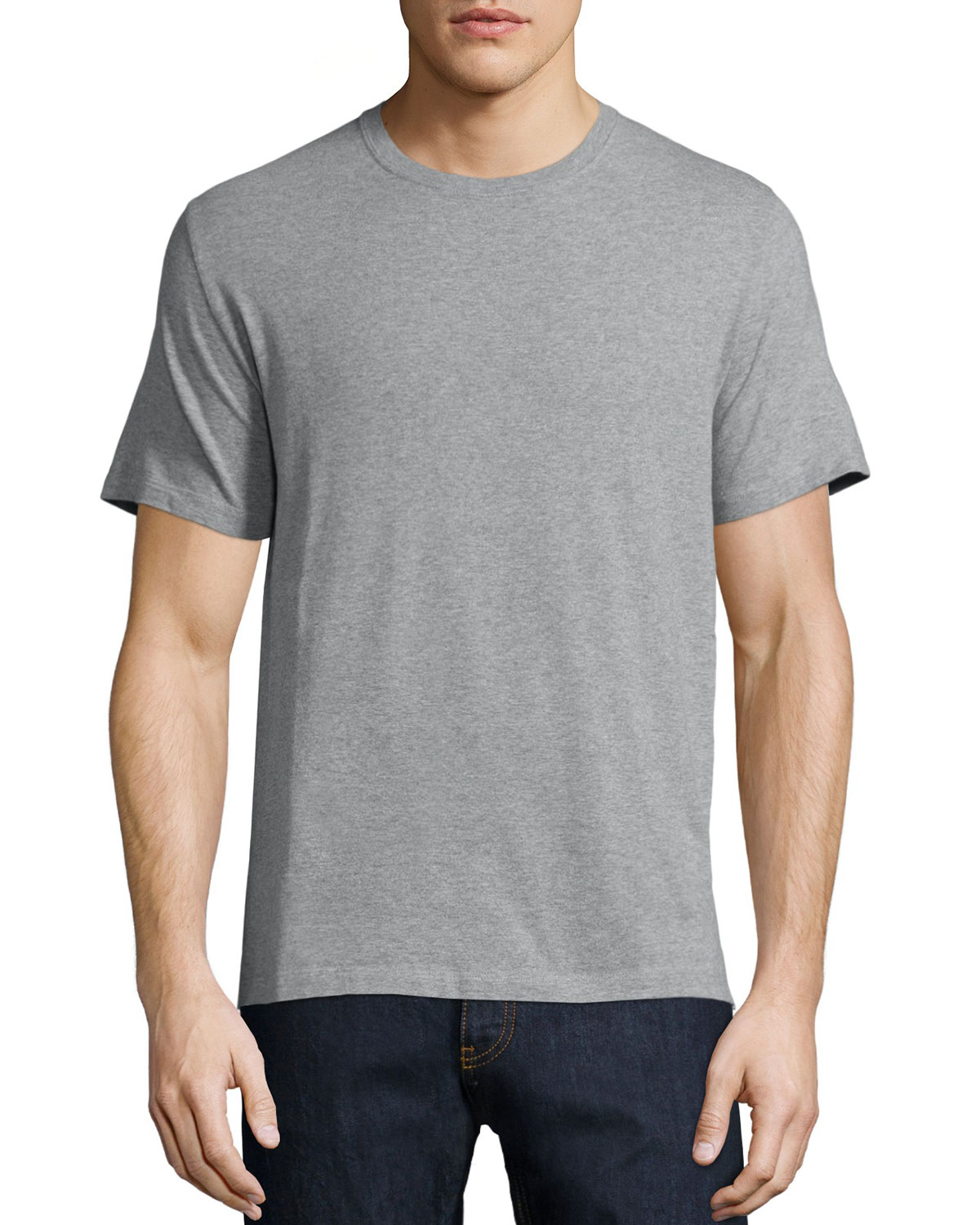 Basic Short-Sleeve T-Shirt with Back Stud, Gray