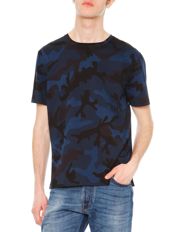 Camo-Print Short-Sleeve Knit T-Shirt, Navy