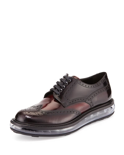 Levitate Leather Wing-Tip Derby Shoe, Dark Red