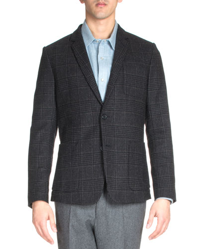 Check Two-Button Wool Blazer, Black