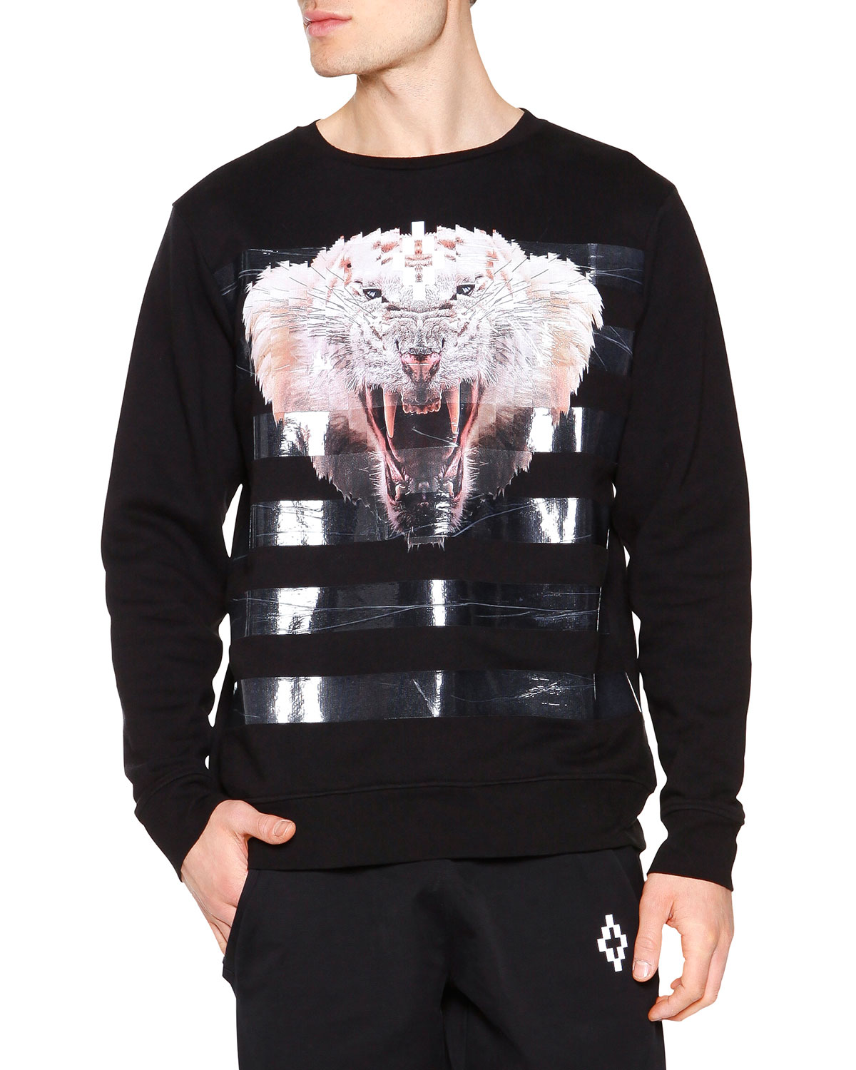 Tiger Graphic Sweatshirt with Tape Stripes, Black