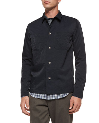Tech Chest-Pocket Utility Shirt Jacket, Navy