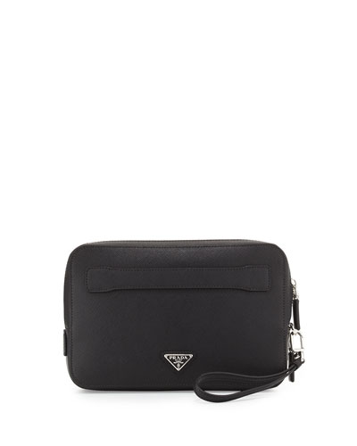 Saffiano Men's Clutch Bag, Black (Nero)