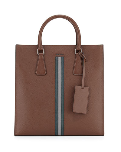 Men's Large Calf Travel Tote Bag, Brown/Green/Gray