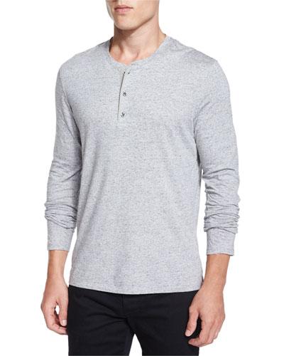 Long-Sleeve Henley Shirt, Light Gray