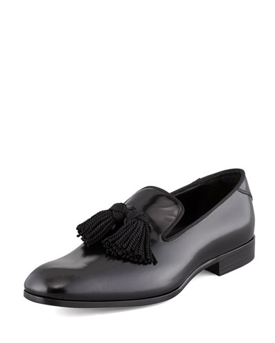 Shiny Calfskin Tassel Loafer, Black