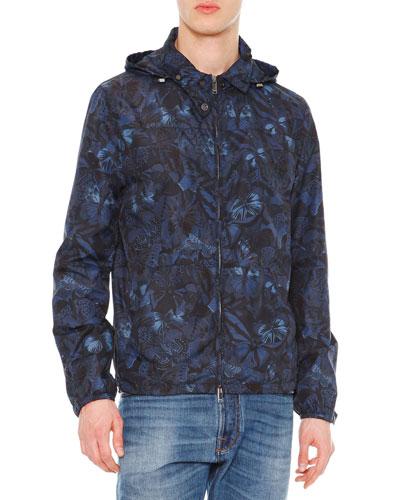 Camo Butterfly Print Nylon K-Way Jacket, Navy