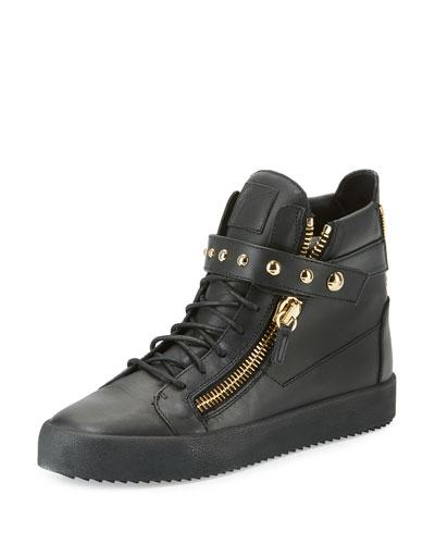 Men's Matte Leather High-Top Sneaker, Black