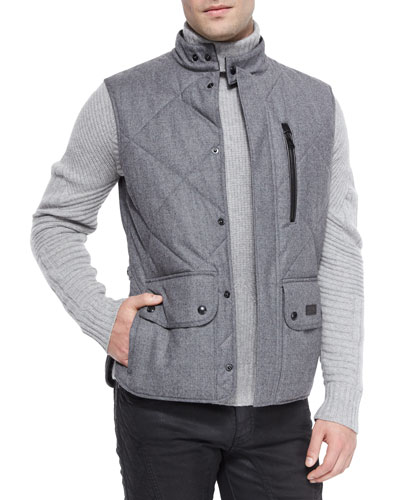 Quilted Flannel Vest, Gray