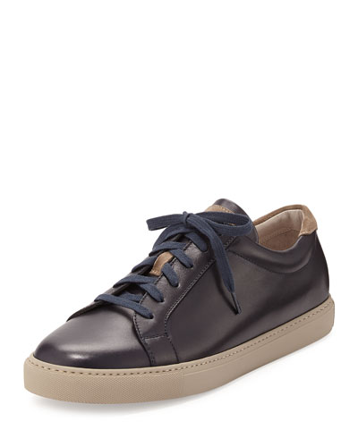 Leather Lace-Up Low-Top Sneaker, Navy
