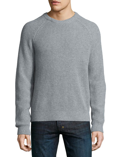 Ribbed Crewneck Sweater, Gray