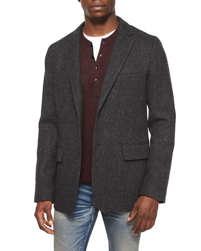 Reserve Textured Two-Button Blazer, Charcoal