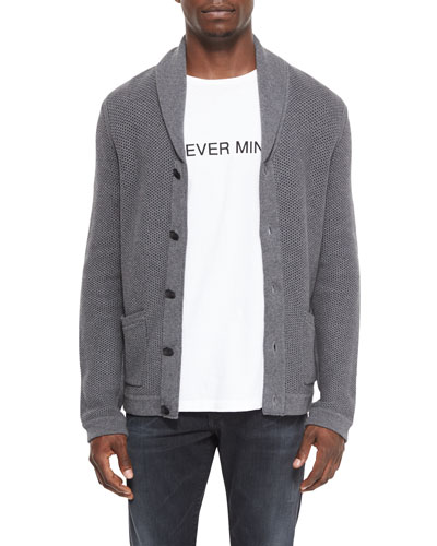 Avery Shawl-Collar Knit Cardigan, Charcoal
