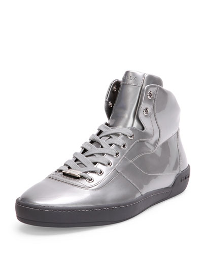 Eroy Patent Leather High-Top Sneaker, Silver