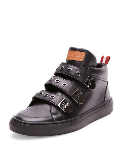 Three-Strap High-Top Sneaker, Black
