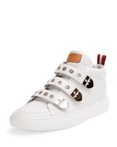 Three-Strap High-Top Sneaker, White