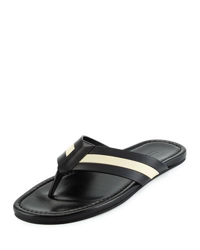 Venzio Calf Leather Thong Sandal, Black