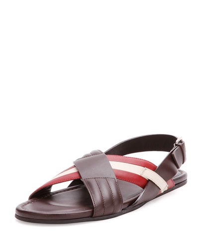 Verlon Leather Crossed Sandal, Dark Brown