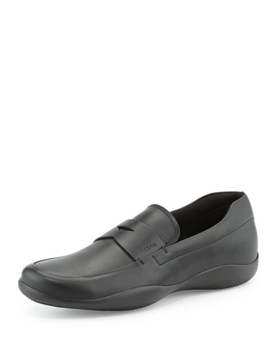 Leather Penny Loafer with Rubber Sole, Black