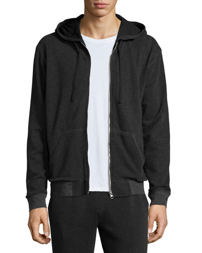 French Terry Zip-Up Hoodie, Charcoal