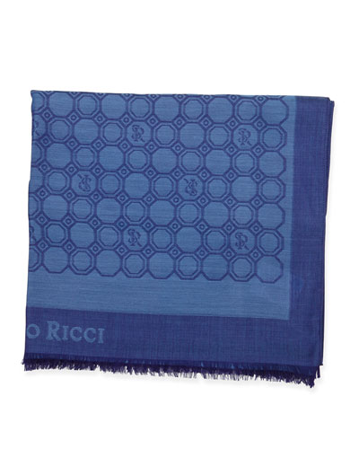 Medallion-Print Silk Scarf, Blue