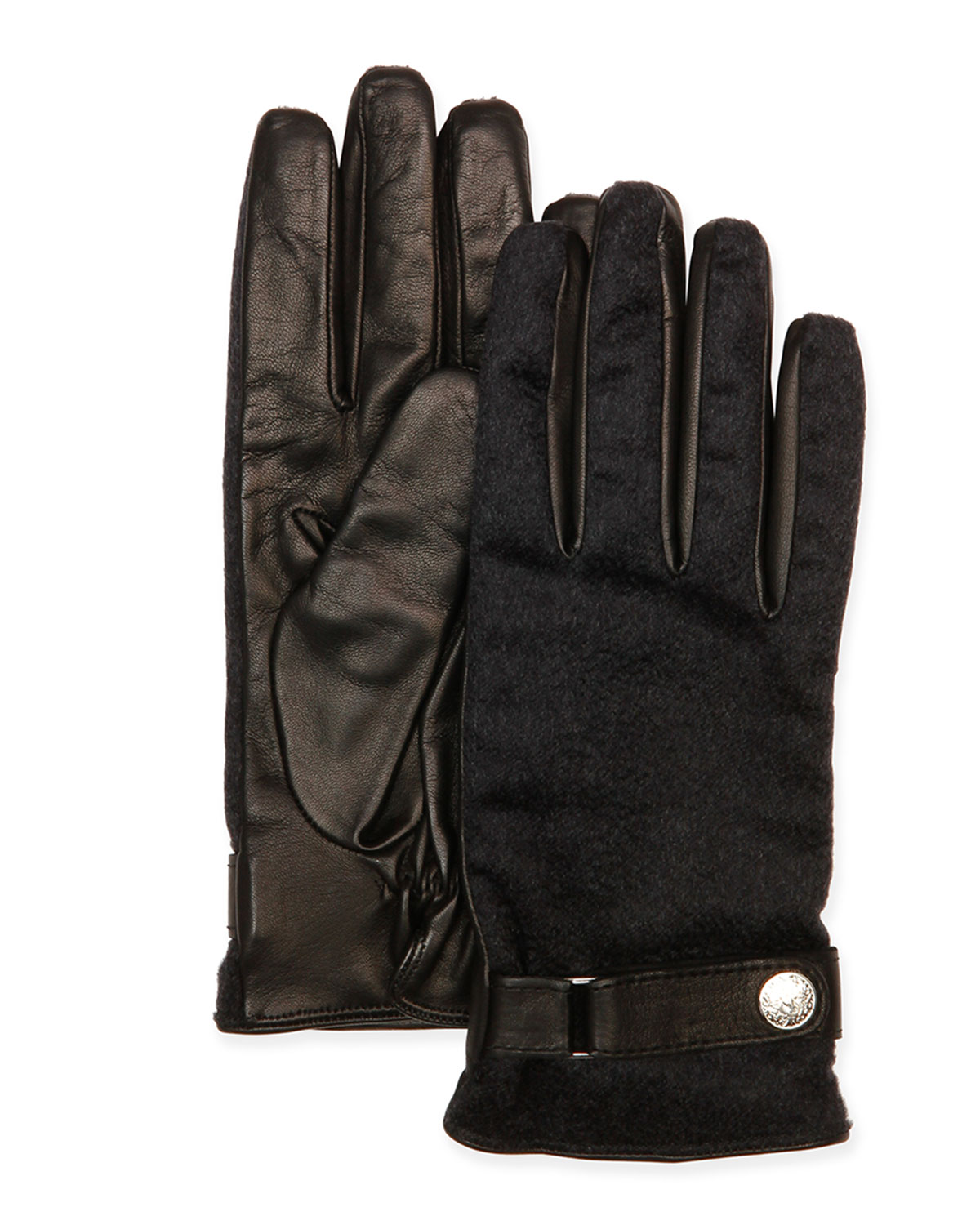 Leather & Cashmere Gloves, Brown