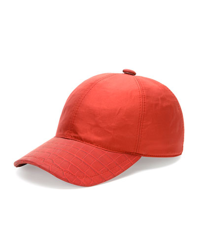 Croc-Detail Silk Baseball Hat, Red