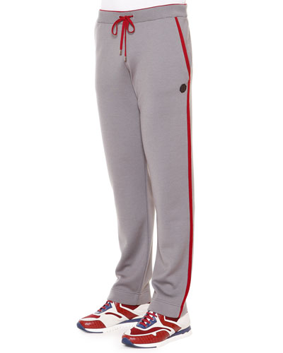 Red-Striped Knit Sweatpants, Gray