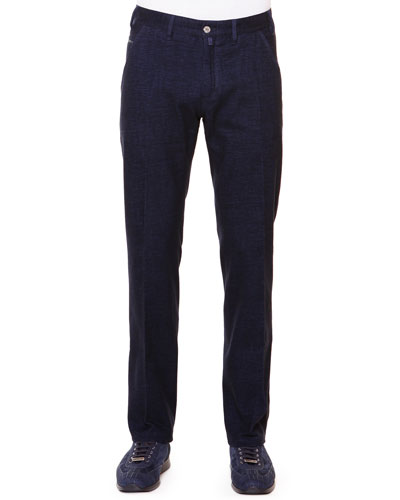 Flat-Front Trousers with Croc Trim, Navy