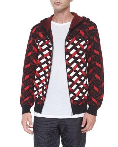 Fair Isle Jacquard Stripe Zip Jacket, Black