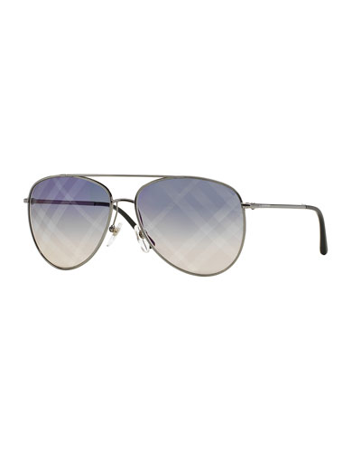 Check-Lens Aviator Sunglasses, Gunmetal