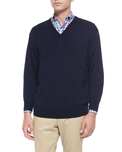 Merino Wool V-Neck Sweater, Navy