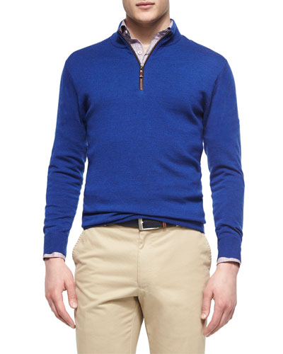 Leather-Trimmed Quarter-Zip Pullover, Blue