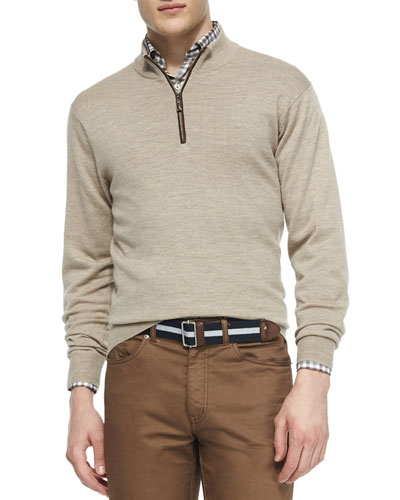 Napa Quarter-Zip Pullover Sweater, Tan