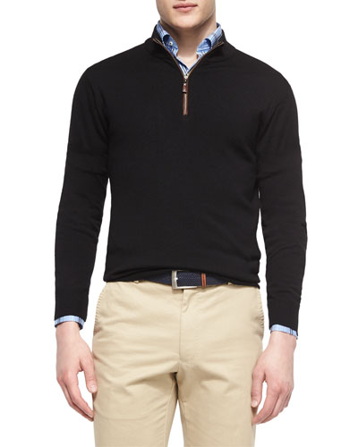 Leather-Trimmed Quarter-Zip Pullover, Black