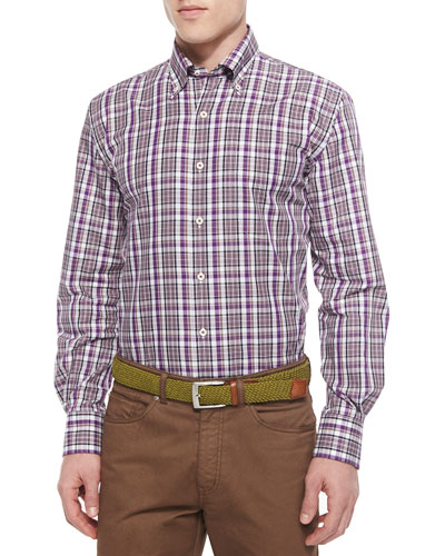 Midtown Plaid Woven Sport Shirt, Red