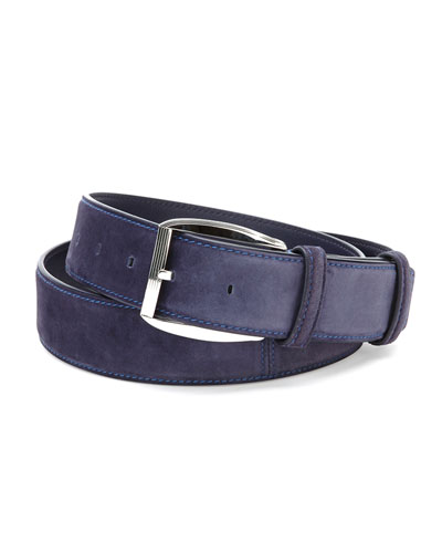 Suede Belt, Blue