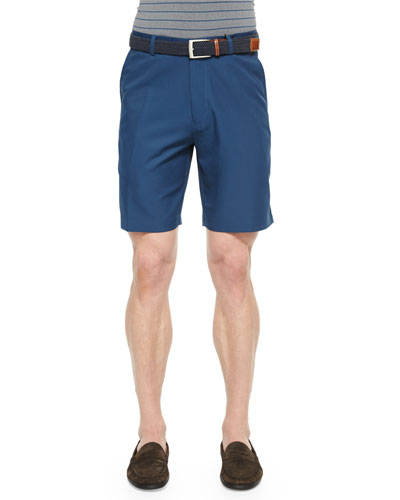 Salem High-Drape Performance Shorts, Navy