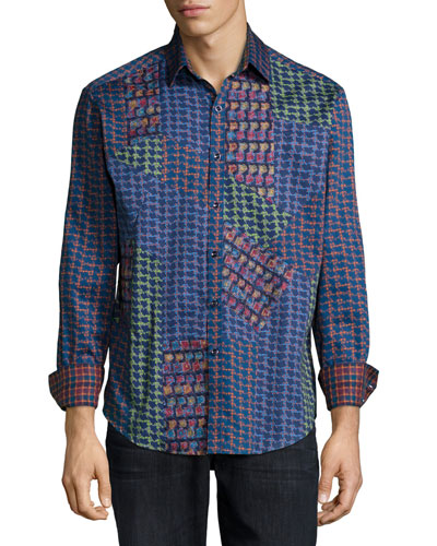 Glasgow Multi-Pattern Woven Sport Shirt, Blue