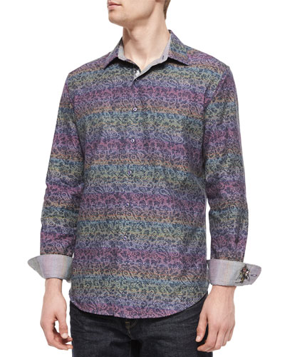 Loch Ness Printed Sport Shirt, Multicolor