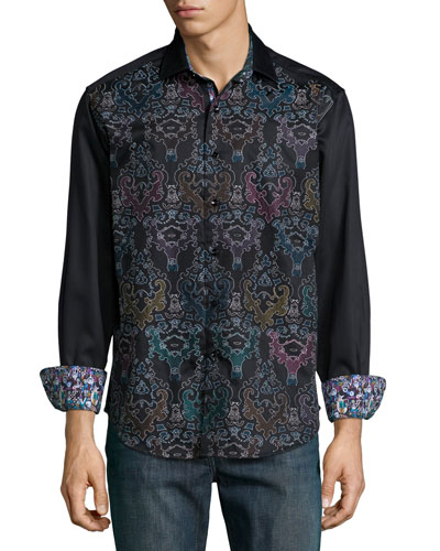 Cumbernauld Printed Long-Sleeve Shirt, Black