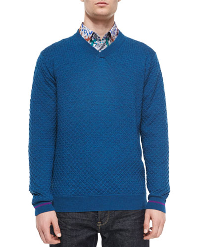 Bagley Textured V-Neck Sweater, Teal