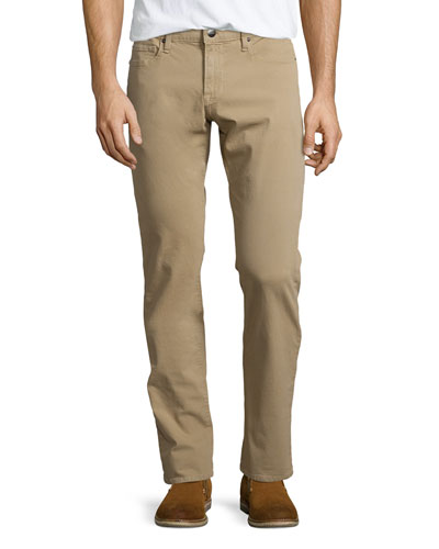 L'Homme Straight-Leg Twill Jeans, Khaki