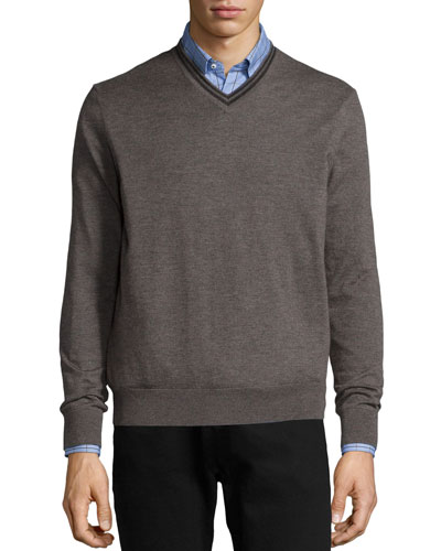 Superfine Cashmere Tipped Sweater, Charcoal
