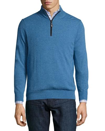 Nano-Cashmere 1/4-Zip Pullover, Blue