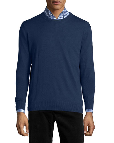 Cotton-Blend Crewneck Sweater, Navy