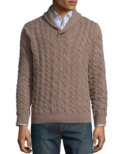 Cable-Knit Cashmere Pullover Sweater, Tan