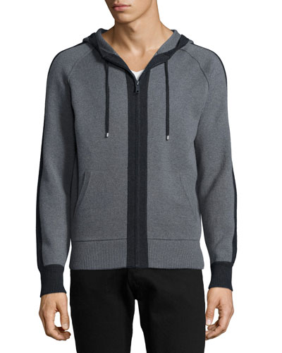 Full-Zip Hoodie with Contrast Placket, Gray