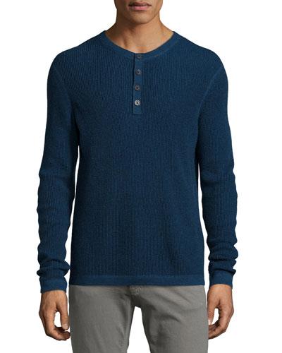 Waffle-Knit Long-Sleeve Henley Shirt, Gray